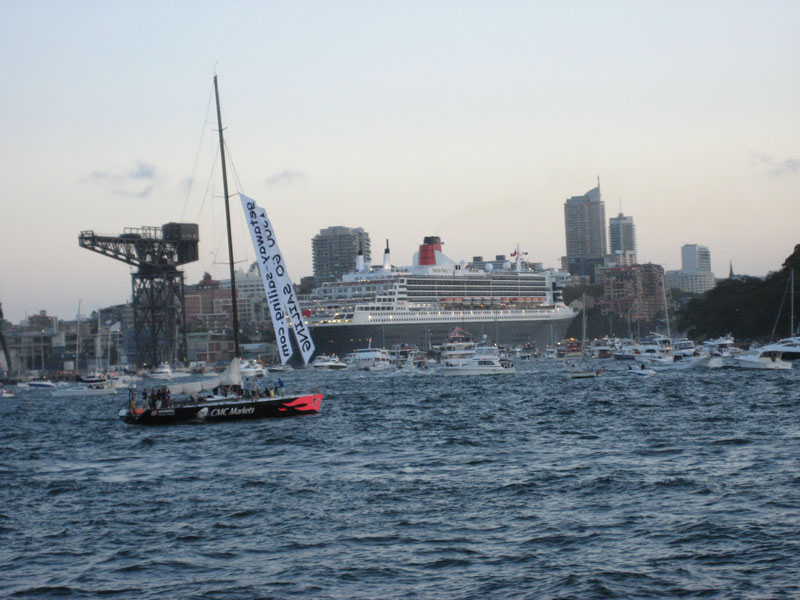 The Queen Mary 2 and The Queen Elizabeth 2 in Sydney Harbour